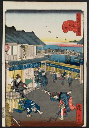 歌川広景: No. 30, Yonezawa-machi in Ryôgoku (Ryôgoku Yonezawa-machi), from the series Comical Views of Famous Places in Edo (Edo meisho dôke zukushi) - ボストン美術館