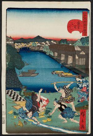 Utagawa Hirokage: No. 24, Sukiya-gashi Embankment (Sukiya-gashi), from the series Comical Views of Famous Places in Edo (Edo meisho dôke zukushi) - Museum of Fine Arts