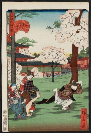 歌川広景: No. 21, Cherry-blossom Viewing at the Middle Hall and the Double Hall in Ueno (Ueno Chûdô Futatsu-dô no hanami), from the series Comical Views of Famous Places in Edo (Edo meisho dôke zukushi) - ボストン美術館