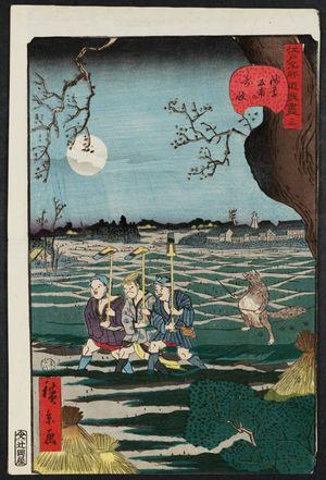 歌川広景: No. 3, Strange Events at Tomonoura in Asakusa (Asakusa Tomonoura no kikai), from the series Comical Views of Famous Places in Edo (Edo meisho dôke zukushi) - ボストン美術館