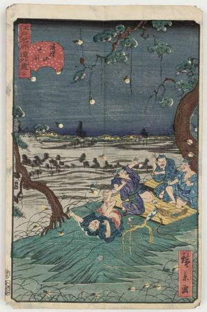 歌川広景: No. 20, Listening to Crickets at Dôkan Hill (Dôkan-yama mushi-kiki), from the series Comical Views of Famous Places in Edo (Edo meisho dôke zukushi) - ボストン美術館
