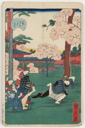 歌川広景: No. 21, Cherry-blossom Viewing at the Middle Hall and the Double Hall in Ueno (Ueno Chûdô Futatsu-dô no hanami), from the series Comical Views of Famous Places in Edo (Edo meisho dôke zukushi) - ボストン美術館