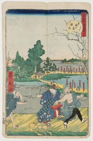 歌川広景: No. 35, Plum-blossom Viewing at Azuma-no-mori (Azuma-no-mori umemi), from the series Comical Views of Famous Places in Edo (Edo meisho dôke zukushi) - ボストン美術館