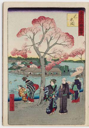 Utagawa Hiroshige III: Shinobazu Hill (Shinobazu-ga-oka) [probably a mistake for Shinobazu Pond, Shinobazu-ga-ike], from the series Famous Places in Tokyo (Tôkyô meisho zue) - Museum of Fine Arts