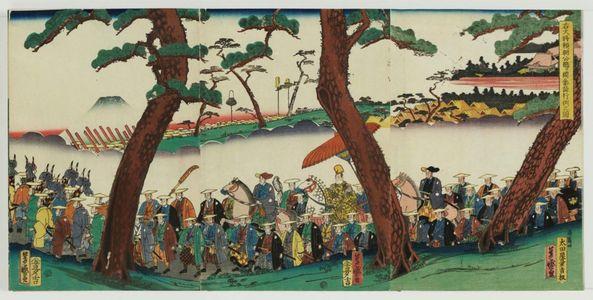 落合芳幾: The Procession of Lord Yoritomo on Pilgrimage to the Tsurugaoka Shrine (Udaishô Yoritomo kô Tsurugaoka sankei gyôretsu no zu) - ボストン美術館