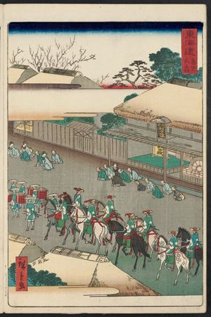 Utagawa Hiroshige II: Ômori, from the series Scenes of Famous Places along the Tôkaidô Road (Tôkaidô meisho fûkei), also known as the Processional Tôkaidô (Gyôretsu Tôkaidô), here called Tôkaidô meisho - Museum of Fine Arts