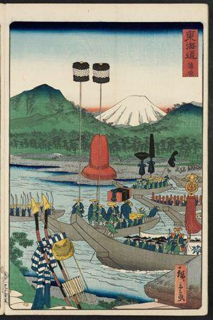二歌川広重: Kanbara, from the series Scenes of Famous Places along the Tôkaidô Road (Tôkaidô meisho fûkei), also known as the Processional Tôkaidô (Gyôretsu Tôkaidô), here called Tôkaidô - ボストン美術館