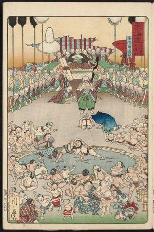 河鍋暁斎: Tenpôzan in Osaka: Viewing Children's Sumo (Naniwa Tenpôzan kodomo sumô shôran), from the series Scenes of Famous Places along the Tôkaidô Road (Tôkaidô meisho fûkei), also known as the Processional Tôkaidô (Gyôretsu Tôkaidô), here called Tôkaidô - ボストン美術館