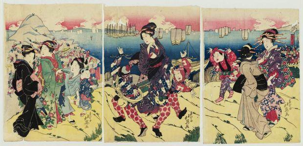 Shunbaisai Hokuei: Women Visiting Tenpôzan - Museum of Fine Arts