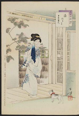 水野年方: After the Bath: Woman of the Kansei Era [1789-1801] (Yuagari, Kansei koro fujin), from the series Thirty-six Elegant Selections (Sanjûroku kasen) - ボストン美術館