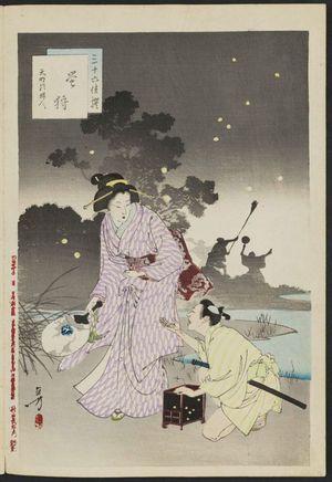 Mizuno Toshikata: Catching Fireflies: Women of the Tenmei Era [1781-89] (Hotaru-gari, Tenmei koro fujin), from the series Thirty-six Elegant Selections (Sanjûroku kasen) - Museum of Fine Arts