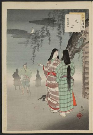 Mizuno Toshikata: Streetwalkers: Women of the Ônin Era [1467-69] (Tsujigimi, Ônin koro fujin), from the series Thirty-six Elegant Selections (Sanjûroku kasen) - Museum of Fine Arts