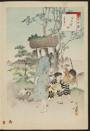 Mizuno Toshikata: Woman of the Bunnan Era [1444-49] (Hisagi onna, Bunnan koro fujin), from the series Thirty-six Elegant Selections (Sanjûroku kasen) - Museum of Fine Arts