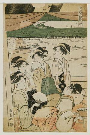 長喜: Enjoying Cool Air on a Pleasure Boat, a Pentaptych (Suzumibune gomai tsuzuki) - ボストン美術館