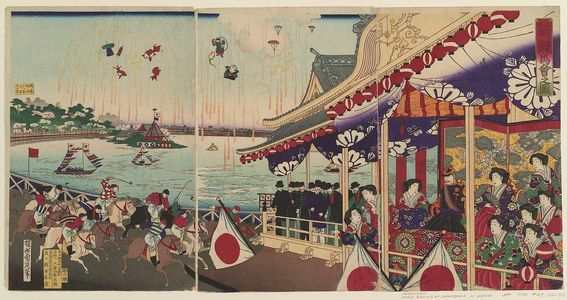 豊原周延: Illustration of Horse Racing at Shinobazu in Ueno (Ueno Shinobazu keiba no zu) - ボストン美術館