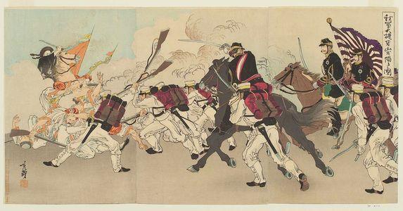 Migita Toshihide: Great Victory of Our Troops at the Fall of Asan (Waga gun taishô Gazan o otoshiireru no zu) - Museum of Fine Arts