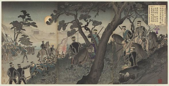 渡辺延一: Our Cavalry Scouting the Battery at Port Arthur from Tucheng (Waga kihei Dojô shieki yori Ryojun hôdai teisatsu no zu) - ボストン美術館