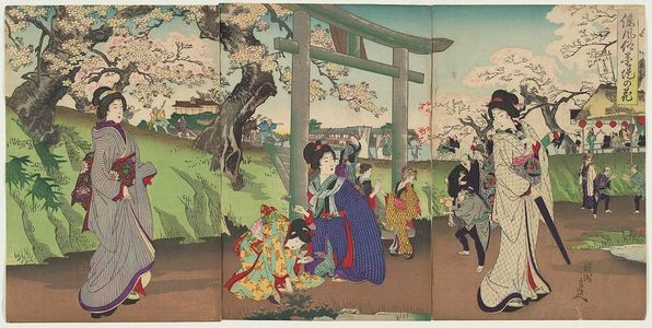 豊原周延: Customs of Japan: Flowers along the Banks of the Sumida River (Wafûzoku bokutei no hana) - ボストン美術館
