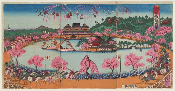 歌川国利: Famous Places in Tokyo: Illustration of the Horse-Race Track at Shinobazu Pond (Tôkyô meisho no uchi: Shinobazu ike keiba no kei) - ボストン美術館