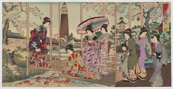 豊原周延: An Excursion to Asakusa Park (Asakusa kôen yûran no zu) - ボストン美術館