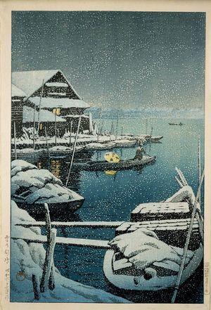 Kawase Hasui: Snow at Mukôjima (Yuki no Mukôjima) - Museum of Fine Arts