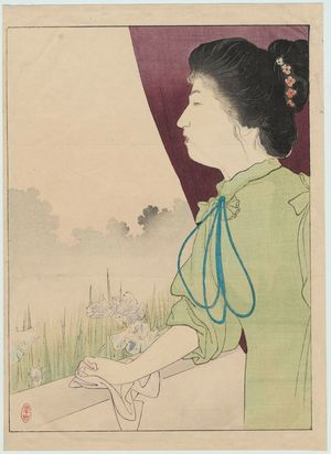 Kajita Hanko: Welcome (Kangei), frontispiece illustration from the literary magazine Bungei kurabu 10, no. 10 - Museum of Fine Arts