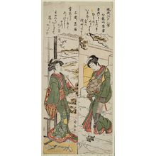 鳥居清長: Evening Snow at Kinryûzan Temple (Kinryûzan no bosetsu) and Descending Geese at Mimeguri (Mimeguri no rakugan), from the series Fashionable Eight Views of Edo (Fûryû Edo hakkei) - ボストン美術館