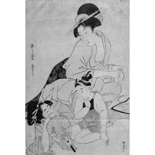 Kitagawa Utamaro: Woman Playing with a Baby While Another Woman Cleans Combs - Museum of Fine Arts