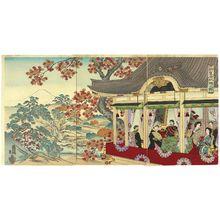 Ôkura Magobei: Illustration of the Maple Leaves at the New Palace (Shin kôkyo kôyô no en) - Museum of Fine Arts