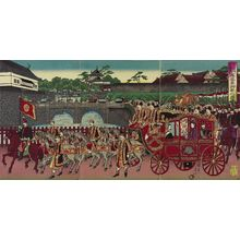 渡辺延一: The Phoenix Carriage Leaving Nishi-no-maru of the Imperial Palace to Attend a Military Review at Aoyama (Nishinomaru kokyo yori Aoyama... miyuki no zu) - ボストン美術館