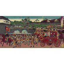 Watanabe Nobukazu: The Phoenix Carriage Leaving Nishi-no-maru of the Imperial Palace to Attend a Military Review at Aoyama (Nishinomaru kokyo yori Aoyama... miyuki no zu) - Museum of Fine Arts