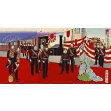 Utagawa Kokunimasa: Illustration of His Imperial Majesty, Commander-in-Chief of the Army and Navy, Arriving in the Capital in Triumph - ボストン美術館