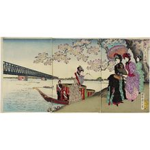 Toyohara Chikanobu: Excursion to View Cherry Blossoms by the Sumida River (Sumidagawa hana no yûran) - Museum of Fine Arts