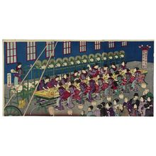 Utagawa Kuniaki: Illustration of the Silk Reeling Machine at the Japanese National Industrial Exposition (Dai Nihon naikoku kangyô hakurankai seishi kikai no zu) - Museum of Fine Arts