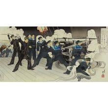 右田年英: Lieutenant Commander Yamanaka, Chief Gunner of Our Ship Fuji, Fights Fiercely in the Naval Battle at the Entrance to Port Arthur (Ryojunkô no kaisen ni waga Fuji hôjutsuchô Yamanaka shôsa funsen) - ボストン美術館