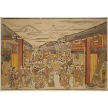 Okumura Masanobu: Large Perspective Picture of the Kabuki Theater District in Sakai-chô and Fukiya-chô - Museum of Fine Arts