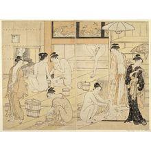 鳥居清長: Interior of a Bathhouse - ボストン美術館