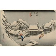 歌川広重: Kanbara: Night Snow (Kanbara, yoru no yuki), first state, from the series Fifty-three Stations of the Tôkaidô Road (Tôkaidô gojûsan tsugi no uchi), also known as the First Tôkaidô or Great Tôkaidô - ボストン美術館
