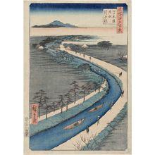 Utagawa Hiroshige: Towboats Along the Yotsugi-dôri Canal (Yotsugi-dôri yôsui hikifune), from the series One Hundred Famous Views of Edo (Meisho Edo hyakkei) - Museum of Fine Arts
