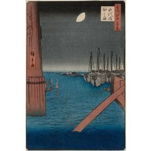 Utagawa Hiroshige: Tsukudajima from Eitai Bridge (Eitaibashi Tsukudajima), from the series One Hundred Famous Views of Edo (Meisho Edo hyakkei) - Museum of Fine Arts
