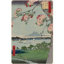 Utagawa Hiroshige: Suijin Shrine and Massaki on the Sumida River (Sumidagawa Suijin no mori Massaki), from the series One Hundred Famous Views of Edo (Meisho Edo hyakkei) - Museum of Fine Arts