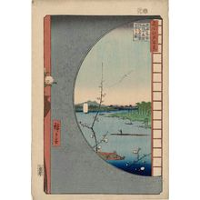 Utagawa Hiroshige: View from Massaki of Suijin Shrine, Uchigawa Inlet, and Sekiya (Massaki-hen yori Suijin no mori Uchigawa Sekiya no sato o miru zu), from the series One Hundred Famous Views of Edo (Meisho Edo hyakkei) - Museum of Fine Arts