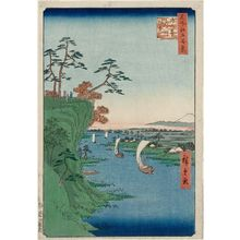 Utagawa Hiroshige: View of Kônodai and the Tone River (Kônodai Tonegawa fûkei), from the series One Hundred Famous Views of Edo (Meisho Edo hyakkei) - Museum of Fine Arts