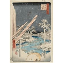 歌川広重: Fukagawa Lumberyards (Fukagawa Kiba), from the series One Hundred Famous Views of Edo (Meisho Edo hyakkei) - ボストン美術館