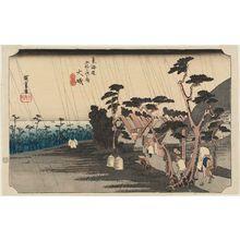 歌川広重: Ôiso: Tora's Rain (Ôiso, Tora ga ame), from the series Fifty-three Stations of the Tôkaidô Road (Tôkaidô gojûsan tsugi no uchi), also known as the First Tôkaidô or Great Tôkaidô - ボストン美術館