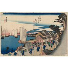 歌川広重: Shinagawa: Departure of the Daimyô (Shinagawa, shokô detachi), from the series Fifty-three Stations of the Tôkaidô Road (Tôkaidô gojûsan tsugi no uchi), also known as the First Tôkaidô or Great Tôkaidô - ボストン美術館
