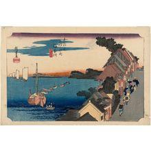 歌川広重: Kanagawa: View of the Embankment (Kanagawa, dai no kei), first version, from the series Fifty-three Stations of the Tôkaidô Road (Tôkaidô gojûsan tsugi no uchi), also known as the First Tôkaidô or Great Tôkaidô - ボストン美術館
