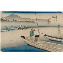 歌川広重: Mitsuke: Tenryû River View (Mitsuke, Tenryûgawa zu), from the series Fifty-three Stations of the Tôkaidô Road (Tôkaidô gojûsan tsugi no uchi), also known as the First Tôkaidô or Great Tôkaidô - ボストン美術館