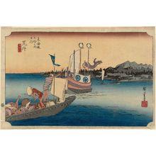 Utagawa Hiroshige: Arai: Ferryboat (Arai, watashibune no zu), from the series Fifty-three Stations of the Tôkaidô (Tôkaidô gojûsan tsugi no uchi), also known as the First Tôkaidô or Great Tôkaidô - Museum of Fine Arts