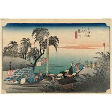 Utagawa Hiroshige: Fujikawa: Scene at Post Outskirts (Fujikawa, bôhana no zu), from the series Fifty-three Stations of the Tôkaidô (Tôkaidô gojûsan tsugi no uchi), also known as the First Tôkaidô or Great Tôkaidô - Museum of Fine Arts